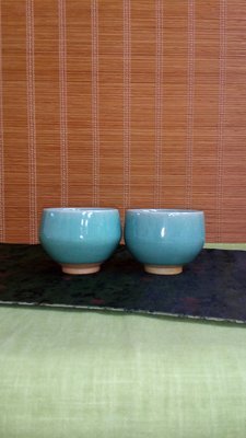 (店舖不續租清倉大拍賣)藍冰裂釉對杯,原價1200元特價600元