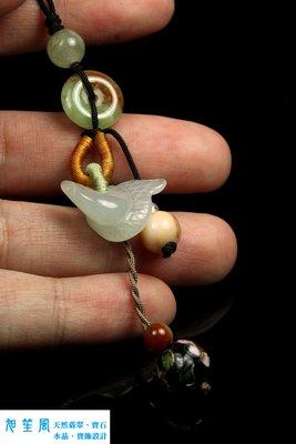 【旭笙風】天然緬甸A貨冰種放光翡翠「生肖蛇」創意設計吊飾