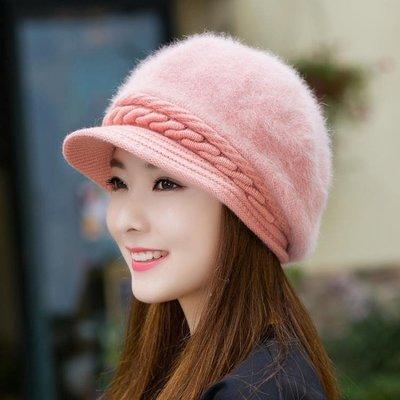 毛帽子女時尚潮韓版可愛百搭鴨舌帽針織毛線帽