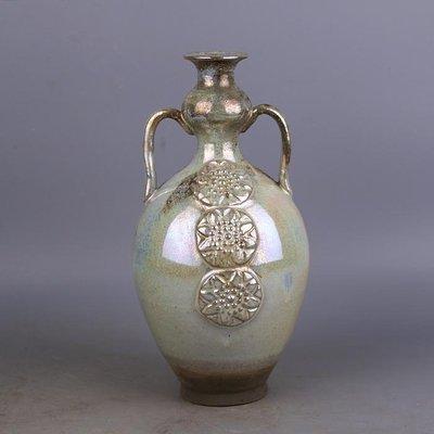 【三顧茅廬 】唐代銀光窯金銀釉堆花雙系葫蘆瓶 出土文物古瓷器手工古玩收藏品