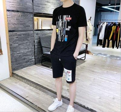 時尚男裝 2019夏季新款純棉短袖T恤套裝男韓版潮流男士運動休閑男裝青少年
