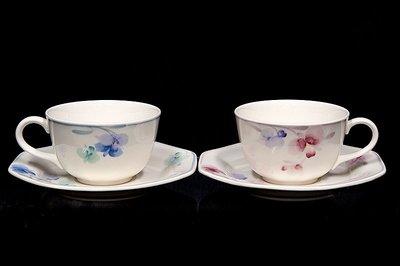 *JAZZ 棧 *  日本製Noritake則武CRAFTONE流派花茶杯盤組一對