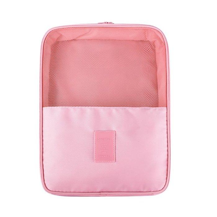 【杰元生活館】粉色 DINIWELL新款斜紋防水加大可掛行李箱旅行用衣物鞋子袋收納用雙層三位鞋包