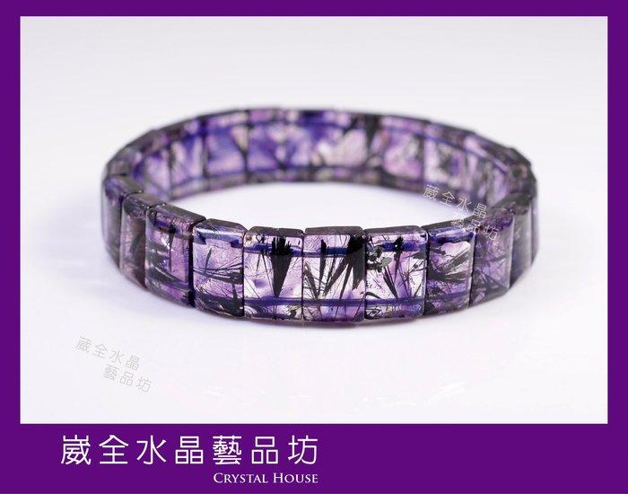 【崴全水晶】天然 三輪骨幹 紫超七 能量 水晶 手鍊 【12x8mm】 手珠 飾品 ※ 送禮好選擇