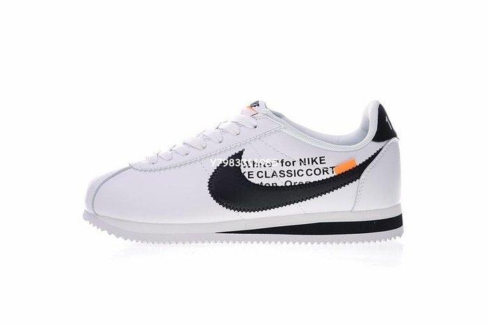 "Nike Classic Cortez Leather 阿甘 復古 皮革 慢跑鞋""Ow白黑橘""807471-101 男女鞋"