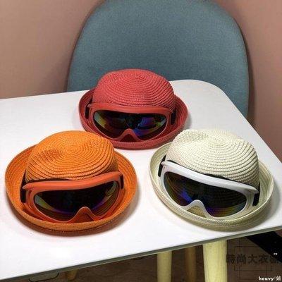 heavy°鋪 兒童寶寶草帽男女童太陽帽潮防曬沙灘遮陽帽GW125