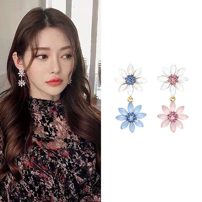 💎1682、韓風蛋白色調拼接太陽花精品耳環💎 名牌精品 耳環 小美人魚 米奇米妮