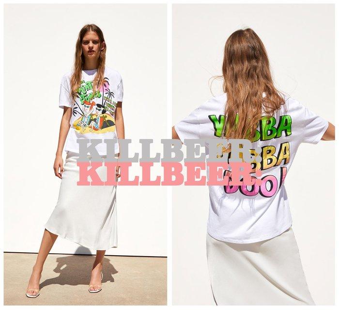KillBeer:貪心女孩的新風格之 歐美復古卡通摩登原始人螢光雙面印花棉質短T恤上衣061605