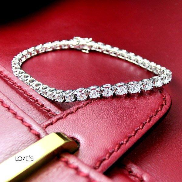 【LOVES鑽石批發】天然鑽石手鍊-20分C形款 7.2克拉D color-H&A-18K金-另有鉑金/白金 另售GIA鑽石 LOVES DIAMOND