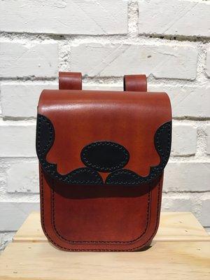 【IAN X EL】淺茶色真皮植鞣革騎士腰包  純手工皮件  提供免費刻字服務
