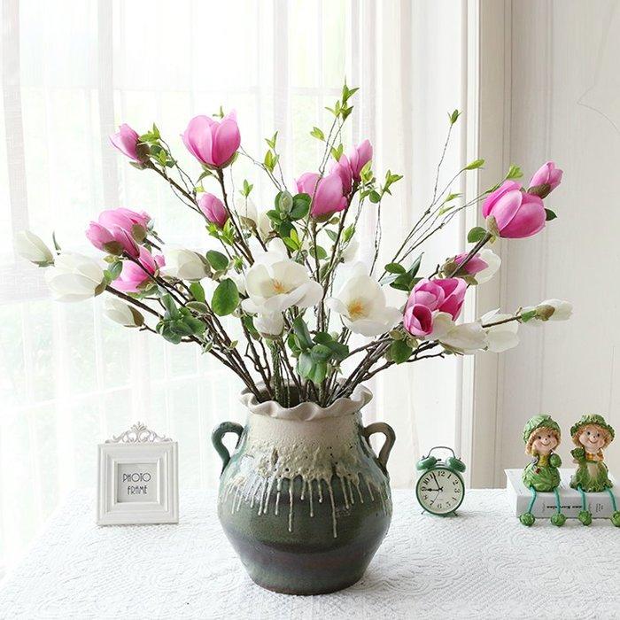 仿真植物仿真花仿真樹葉人造花人造葉單支玉蘭仿真花套裝假花客廳家居裝飾品擺件餐桌花束茶幾干花擺設
