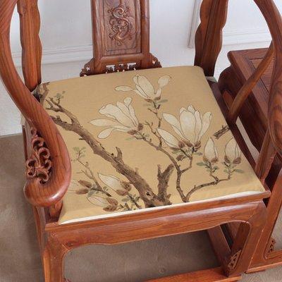 熱賣-玉蘭圖現代新中式棉麻茶樓椅墊餐椅...