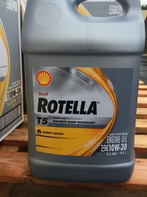 【殼牌Shell】ROTELLA T5 10W30、合成級-重車柴油引擎機油、9.4L/罐【CJ4/SM-五期】單買區