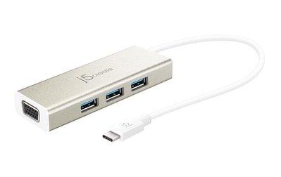 喬格電腦 凱捷j5create JCH411 USB 3.1 Type-C轉VGA充電傳輸集線器