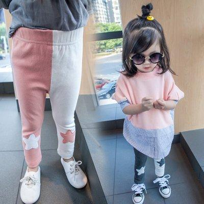 ♥【GK0122】韓版女童裝拼色星星長褲 2色 (灰色 粉色 現貨) ♥