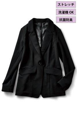 iedit 19秋 人氣素材 易於打理 彈力針織 修身黑色西裝外套 (現貨款特價)