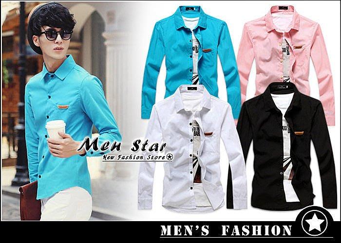 【Men Star】免運費 韓版皮標設計素色襯衫 / 長袖襯衫 男 / 媲美 stage uniqlo g2000 DC
