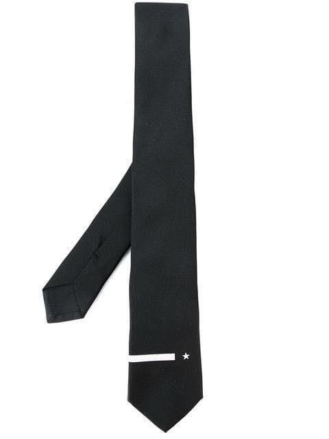 義大利製!全新日本專櫃正品 GIVENCHY 紀梵希 黑色全絲質經典星型設計中窄版領帶 7cm 附專櫃紙袋