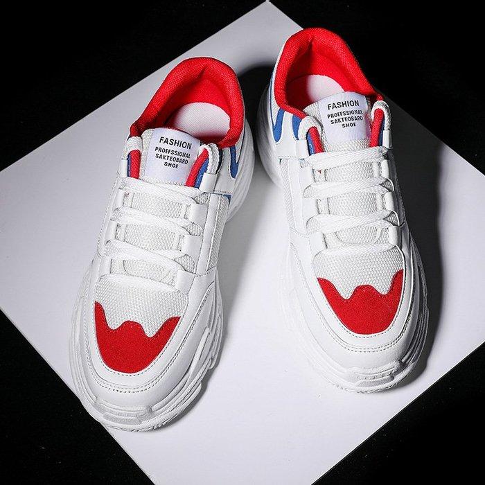 時尚男鞋男士白色運動鞋爆款厚底男鞋韓版跨境軟底老爹鞋