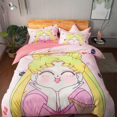 2020春夏版美少女戰士卡通床包4件組(被套+床單+枕套) 4季可用活性印染不易退色 保證品質材質柔軟舒服 日本動漫