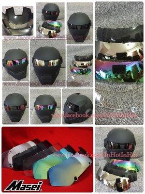 全新款可換鏡片Masei M-610鋼鐵人造型摩托車安全帽/頭盔(消光黑色)