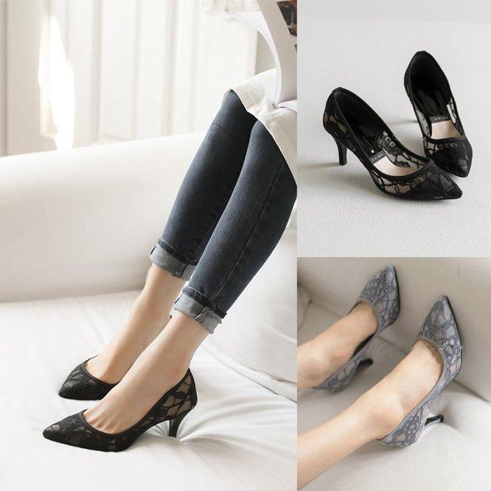 蕾絲 大碼小碼高跟鞋 韓國連線  古典蕾絲透膚高跟鞋