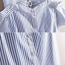 【木風小舖】V領 露肩條紋排釦造型襯衫*藍