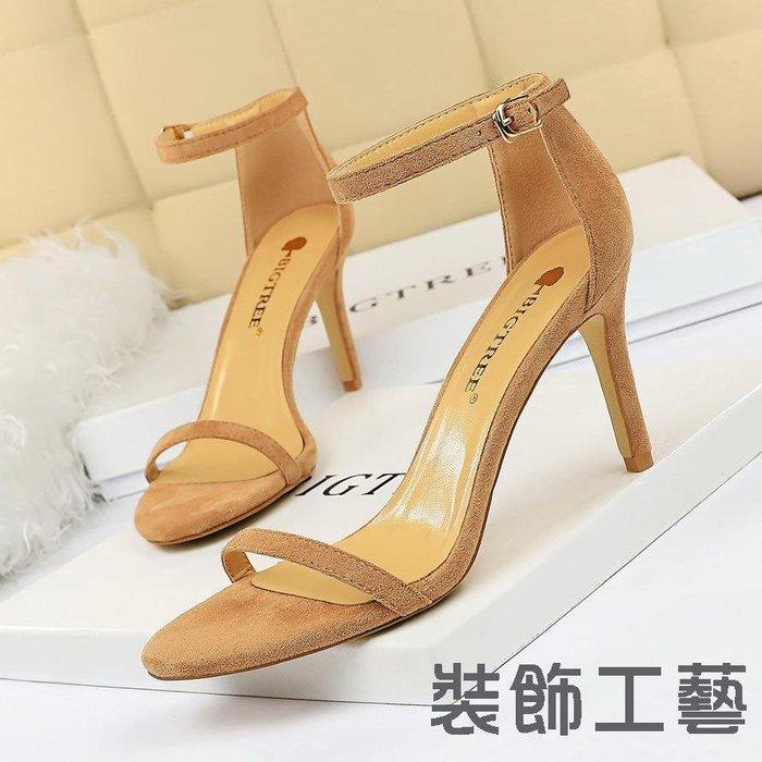 126-A9時尚簡約細跟高跟絨面露趾一字帶性感夜店高跟鞋女涼鞋