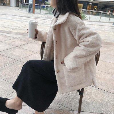 chic仿羊羔毛外套女冬2018新款韓版寬鬆學生百搭短款加厚毛呢上衣