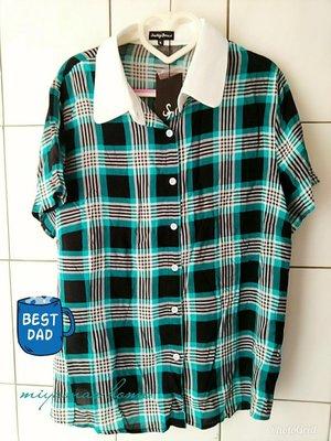 Something  Borrowed藍黑格白領短袖櫬衫XL SIZE(SCL0387)