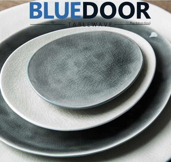 BlueD_ 冰裂釉色 水滴盤 5吋 西餐盤 水果盤 義大利麵 甜點盤 平盤 日式 小菜碟 漸層漸變 創意設計 鵝卵石