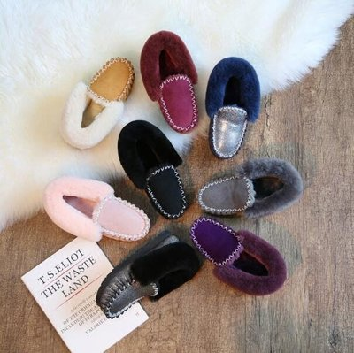 雪靴 懶人鞋 皮毛一體短靴子真皮平底加絨豆豆鞋 保暖小黑鞋—莎芭