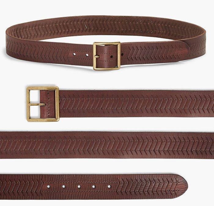 全新從未用過 美國名牌 Lucky Brand 皮革皮帶腰帶,32號,只有一件,低價起標無底價!本商品免運費!