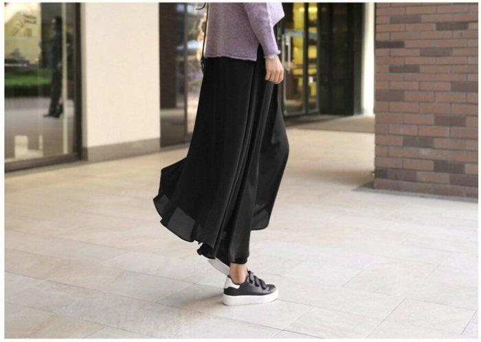 Q朵米-韓系柔美輕盈雪紡裙+舒適莫代爾褲假兩件式長裙內搭褲