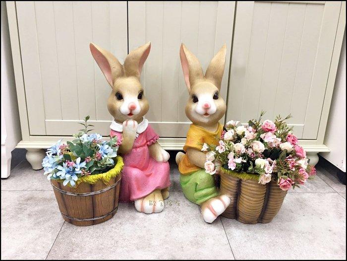 鄉村風 立體波麗製兔子花盆 男兔女兔卡通造型小洋裝兔仿木桶公仔花器盆栽架 戶外玩偶擺飾品園藝用品桌上收納架【歐舍傢居】