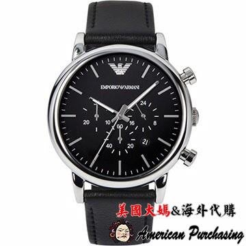 美國大媽代購 EMPORIO ARMANI 亞曼尼手錶 AR1828 經典簡約三眼計時皮帶腕錶 手錶 腕錶 歐美代購