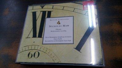 年輪書房 Rattle 拉圖 Nicholas Maw Odyssey 2CD 伯明罕市立交響樂團 EMI 德版