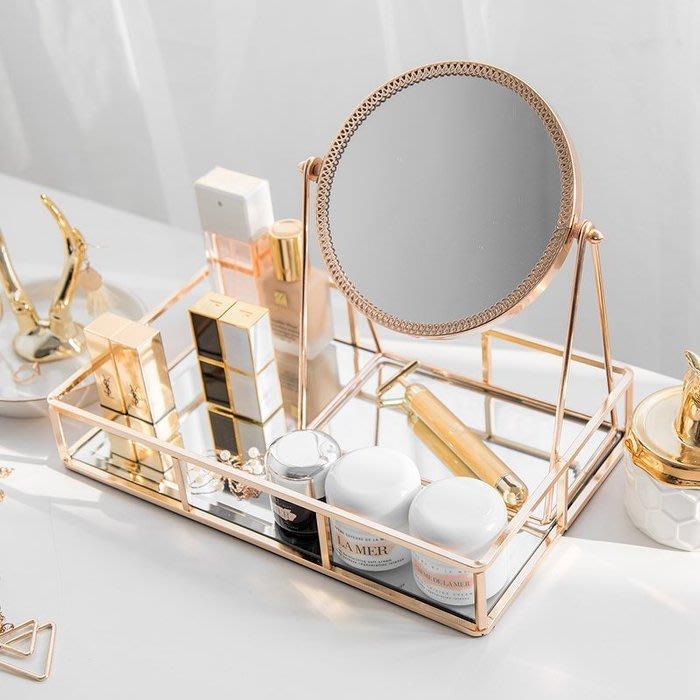 ART。DECO  時尚輕奢金色復古美式化妝鏡金邊鏡面飾品收納盤歐式鏡子梳妝鏡房間化妝桌鏡子隨身鏡時尚香檳金桌鏡收納盤裝