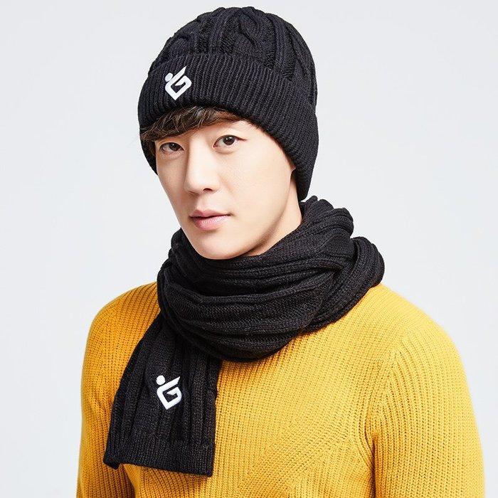 哈尼店鋪*帽子圍巾兩件套裝男女冬季保暖加絨韓版百搭針織圍脖加厚毛線帽潮優惠推薦