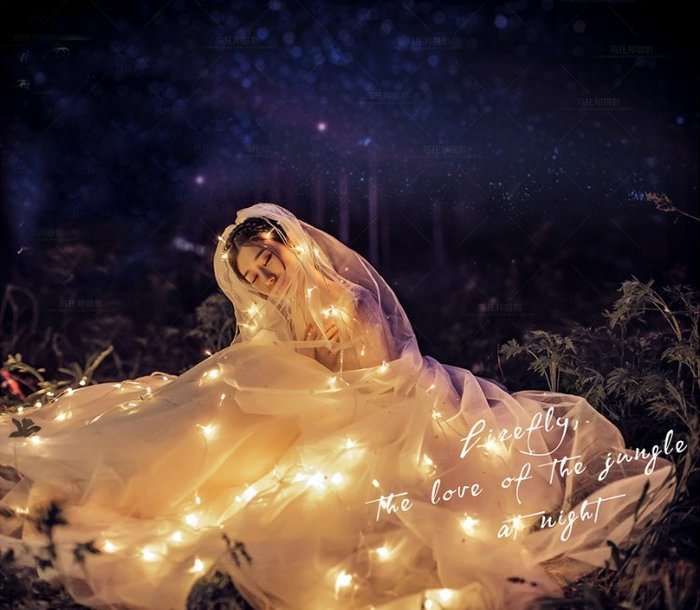 新款婚紗夜景拍照道具影樓外景攝影道具裝飾掛件森系旅拍led燈串