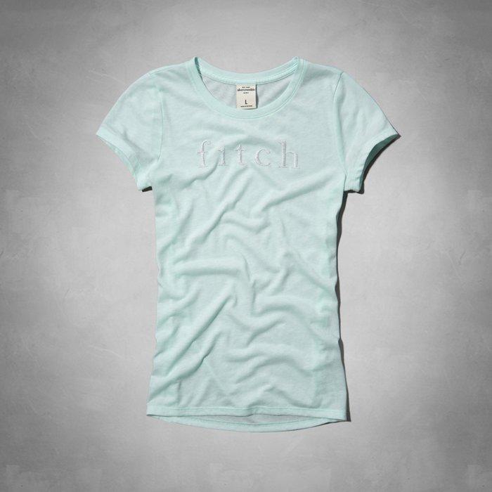 Maple麋鹿小舖 abercrombie&fitch * a&f 女童款淺綠色電繡字母短T-shine tee