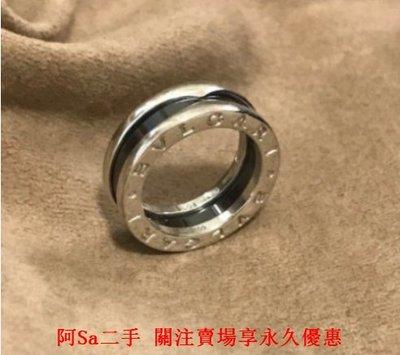 阿Sa二手  98新 BVLGARI 寶格麗 save the children 純銀單圈黑陶瓷戒指