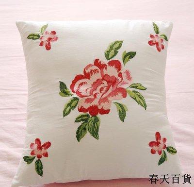 靠墊套40x40全棉一對裝棉繡花抱枕套田園刺繡床上布藝不含芯