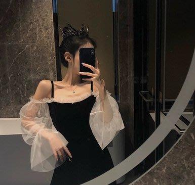 韓風木耳邊網紗拼接很仙的連衣裙女露肩吊帶裙修身長袖中長款裙子