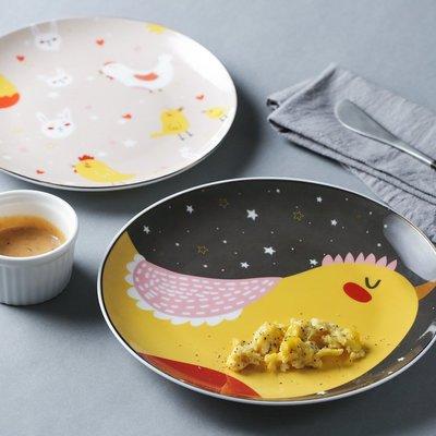 可愛插畫小雞圓盤 居家餐廳陶瓷義大利麵盤平盤子(5.5寸+6.5寸各一入)_☆優購好SoGood☆