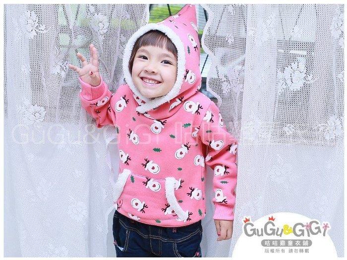 【RG2121722】秋冬款~滿版麋鹿聖誕樹粉色連帽上衣$99