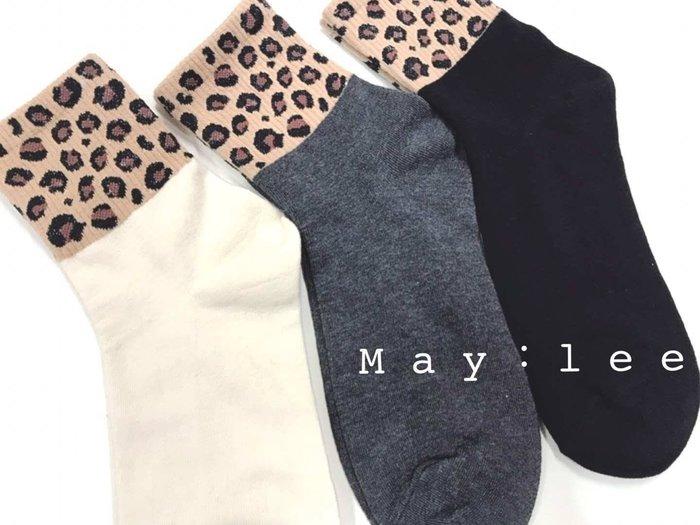 韓國製豹紋襪3入組 正韓   MAY LEE 東大門襪