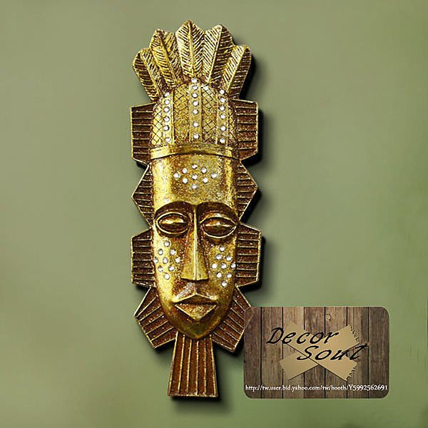 DS北歐家飾§ loft工業風 非洲部落圖騰質感B人面掛飾 玄關壁掛 仿舊復古美式水鑽金鉑金粉