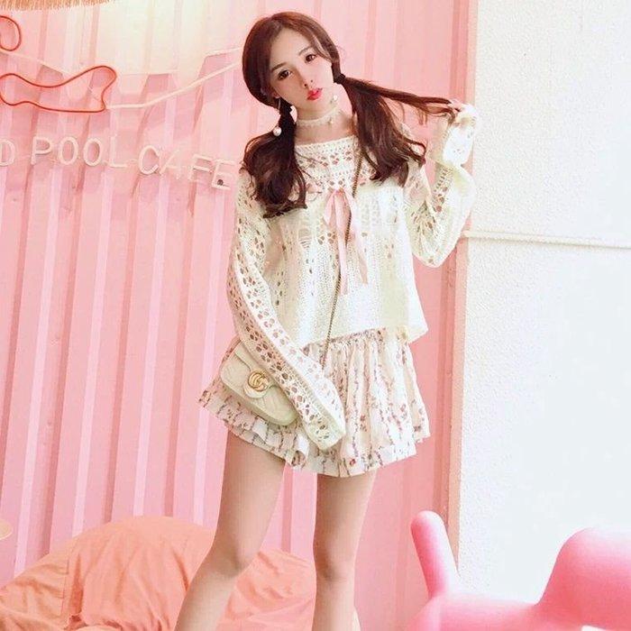 粉紅玫瑰 屋~甜美針織縷空仙女毛衣~