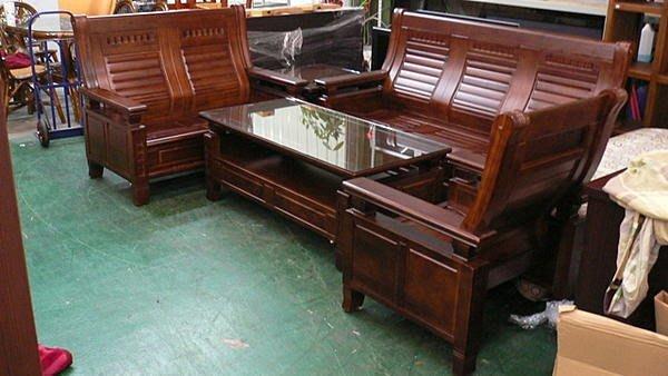 樂居二手家具館 實木傢俱買賣 全新原木樟木沙發椅*實木板椅/123含大小茶几/客廳桌椅/木頭椅/泡茶桌椅